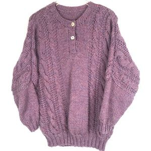 Chunky Hand Knit Lavender Wool Sweater L